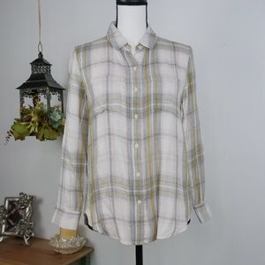 Banana Republic Top Flannel Plaid Button Down SP